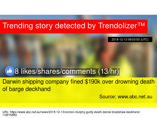 Darwin shipping company fined $190k over drowning death of