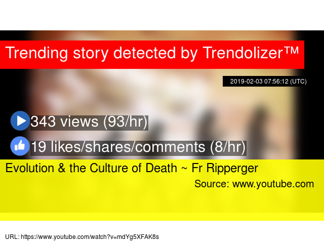 Evolution & the Culture of Death ~ Fr Ripperger